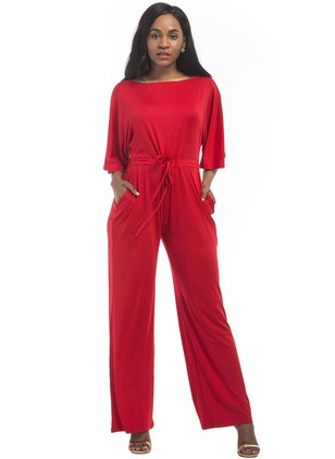 Polyester Solid Half Sleeve Casual Jumpsuits & Rompers