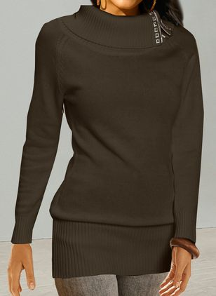 Round Neckline Solid Elegant Tight Regular Buttons Sweaters (146901428)