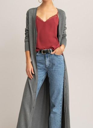 V-Neckline Solid Casual Loose Long Buttons Sweaters (146884078)