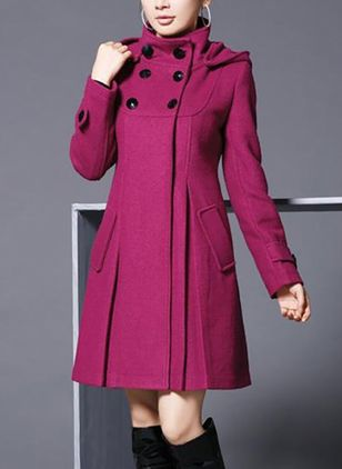 Long Sleeve High Neckline Buttons Pockets Coats