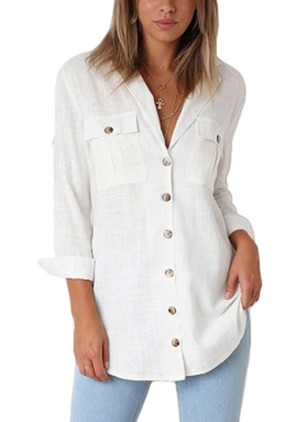 Solid Cotton Collar Long Sleeve Blouses