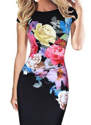 Elegant Floral Pencil Round Neckline Sheath Dress (1543980)