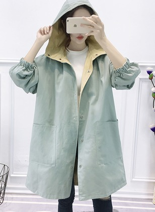 Polyester Long Sleeve Hooded Buttons Coats