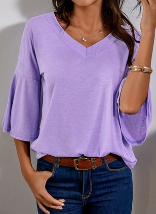 Solid V-Neckline 3/4 Sleeves Casual T-shirts (1508228)