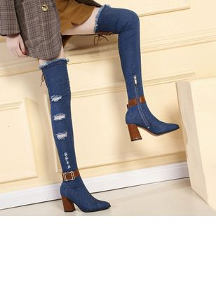 Denim Shoes With Zipper Buckle (5502362)