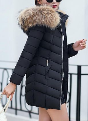 Long Sleeve Hooded Pockets Unremovable Fur Collar Padded Coats
