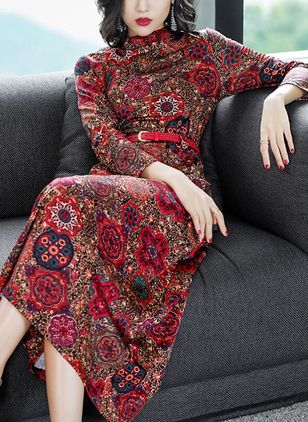 Floral Wrap Long Sleeve Midi X-line Dress