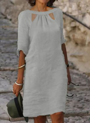 Casual Solid Tunic Round Neckline A-line Dress (147190778)