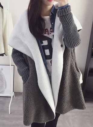 Mohair Long Sleeve Hooded Pockets Others Coats