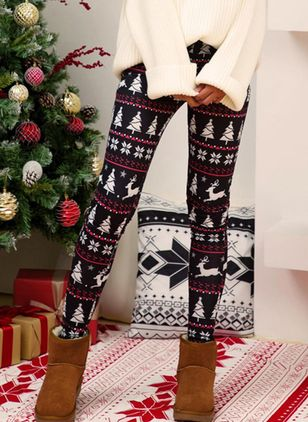 Christmas Skinny Pattern Mid Waist Polyester Pants (131286027)