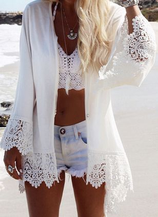 Chiffon Solid Cover-Ups Swimwear (1516948)