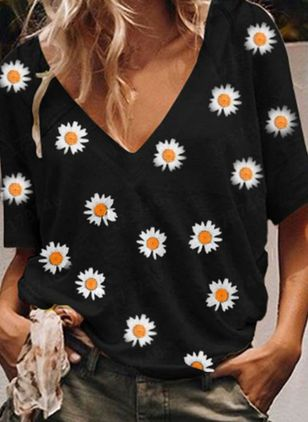 Floral V-Neckline Short Sleeve Casual T-shirts (4043580)