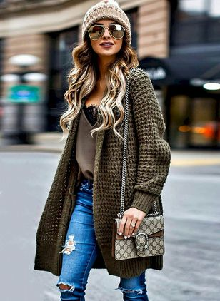 Long Sleeve Lapel Sweaters
