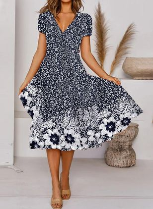 Casual Floral V-Neckline Midi A-line Dress (147065643)