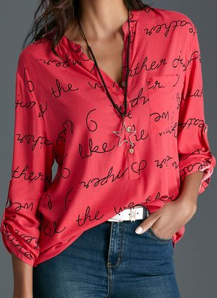 Alphabet Arabian Stand Collar Long Sleeve Blouses
