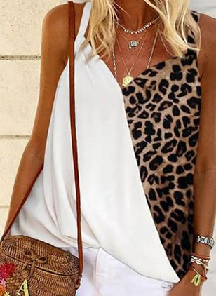 Leopard Camisole Neckline Sleeveless Casual T-shirts (4046908)