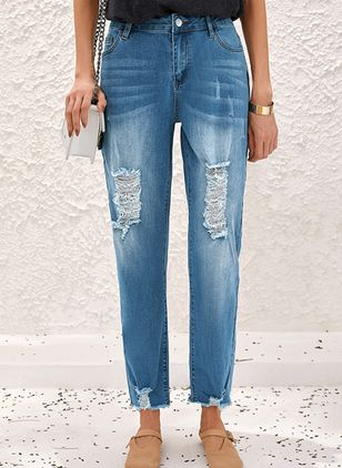 Casual Straight Buttons Zipper Pockets Mid Waist Denim Jeans (1544066)