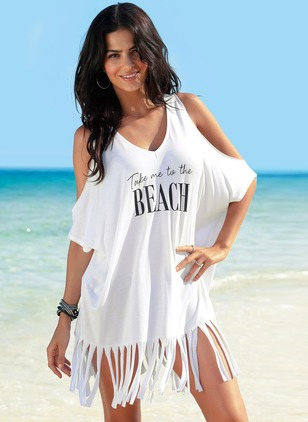 Cotton Halter Tassels Cover-Ups Swimwear