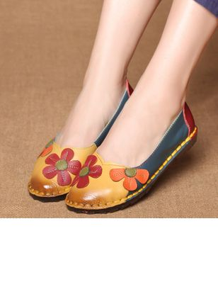 Flower Closed Toe Flat Heel Shoes (1293660)