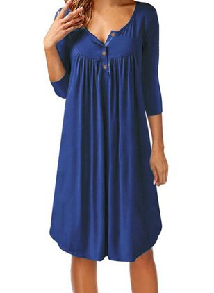 Solid Buttons 3/4 Sleeves Knee-Length Dress