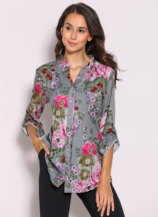 Floral Casual Chiffon V-Neckline 3/4 Sleeves Blouses