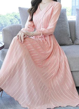 Casual Stripe V-Neckline Maxi X-line Dress (101985811)