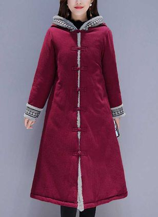 Long Sleeve Hooded Buttons Coats