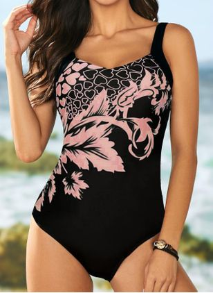 Polyester Color Block One-piece Swimwear (147398200)