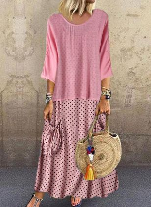 Casual Polka Dot Tunic Round Neckline Shift Dress (4209015)