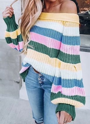 Off the Shoulder Color Block Casual Loose Regular Shift Sweaters (108088229)