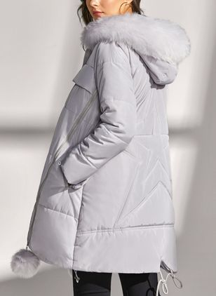 Long Sleeve Hooded Removable Fur Collar Padded Coats (1261081)