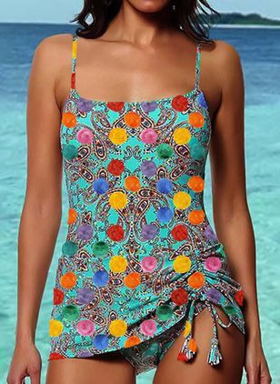 Polyester Tassels One-piece Swimwear