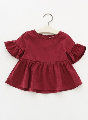 Girls' Solid Round Neckline Short Sleeve Tops