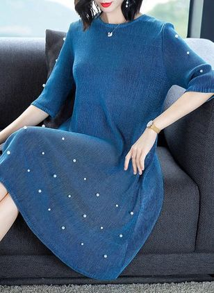 Solid Beading 3/4 Sleeves Knee-Length Shift Dress