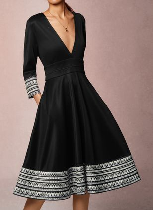 Elegant Geometric V-Neckline Midi X-line Dress (1358322)