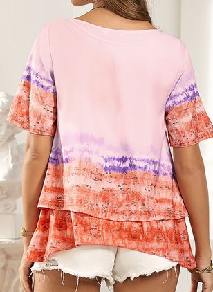 Color Block Casual V-Neckline Short Sleeve Blouses (2200817)
