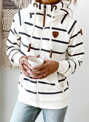 Stripe Draped Neckline Long Sleeve Casual T-shirts (122029950)