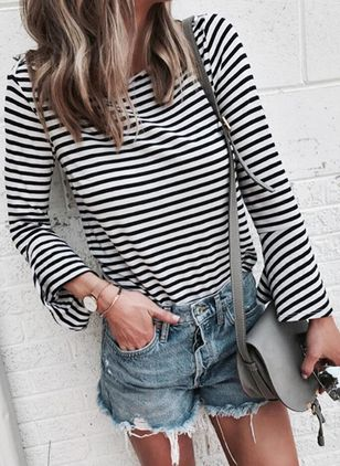 Stripe Round Neck Long Sleeve Casual T-shirts (5502157)
