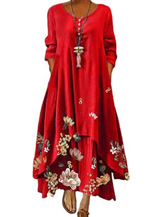 Robes Casual Florale Manches longues Maxi (147429706)