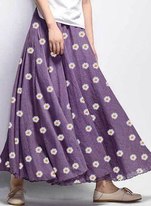 Floral Maxi Casual Skirts (4348235)