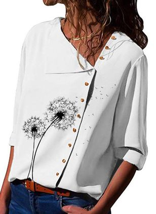 Floral Casual Oblique Neckline 3/4 Sleeves Blouses (101241303)