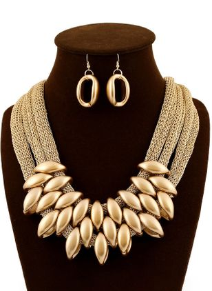 Round No Stone Necklace Jewelry Sets (1527901)