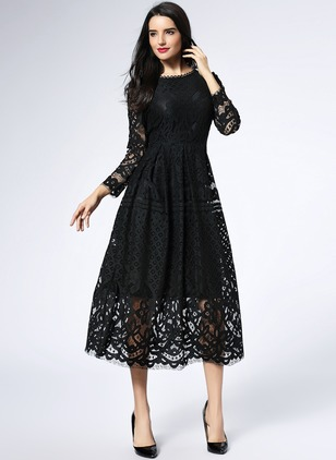 Solid Hollow Out Long Sleeve Midi A-line Dress