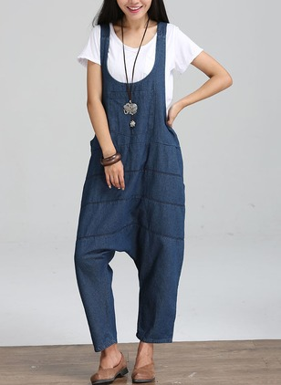 Polyester Solid Sleeveless Casual Backless Jumpsuits & Rompers