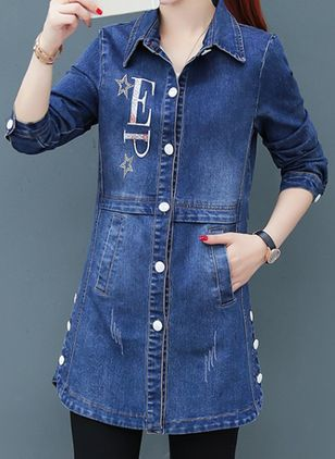 A-line Coats Collar Denim Jacket (104147292)