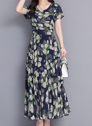Elegant Color Block Round Neckline Maxi X-line Dress (1302793)