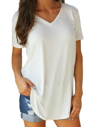 Solid V-Neckline Short Sleeve Casual T-shirts (4072754)