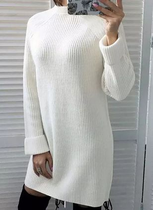 Casual Solid Sweater Round Neckline Shift Dress (107422844)