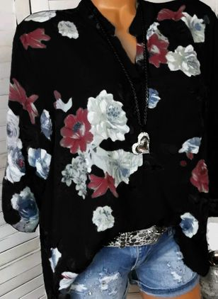 Floral Casual V-Neckline Long Sleeve Blouses (1237556)