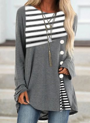 Stripe Round Neck Long Sleeve Casual T-shirts (108858355)